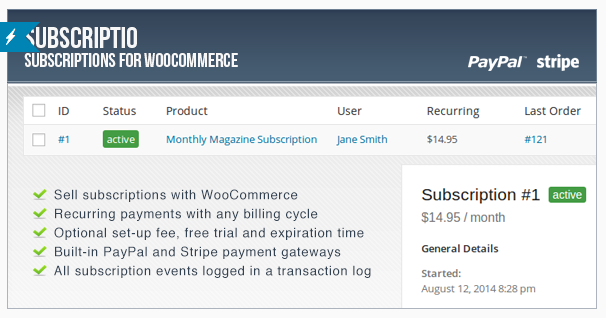 wordpress woocommerce subscriptions